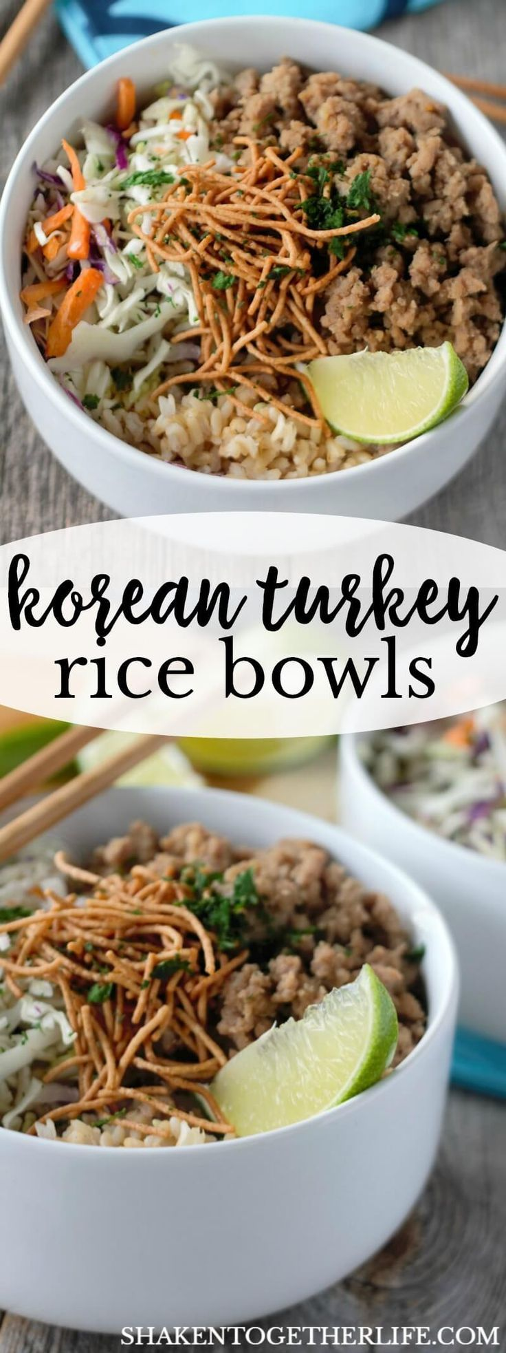 Korean Turkey Rice Bowls - a 20 minute meal! Flavorful seasoned ground turkey, nutty brown rice, crisp shredded veggies and crunchy noodles are tossed together in this quick and tasty dinner! #BacktoButterball #easydinner ad