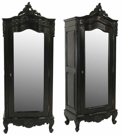 French Noir Black Painted Small 1 Door Mirrored Armoire
