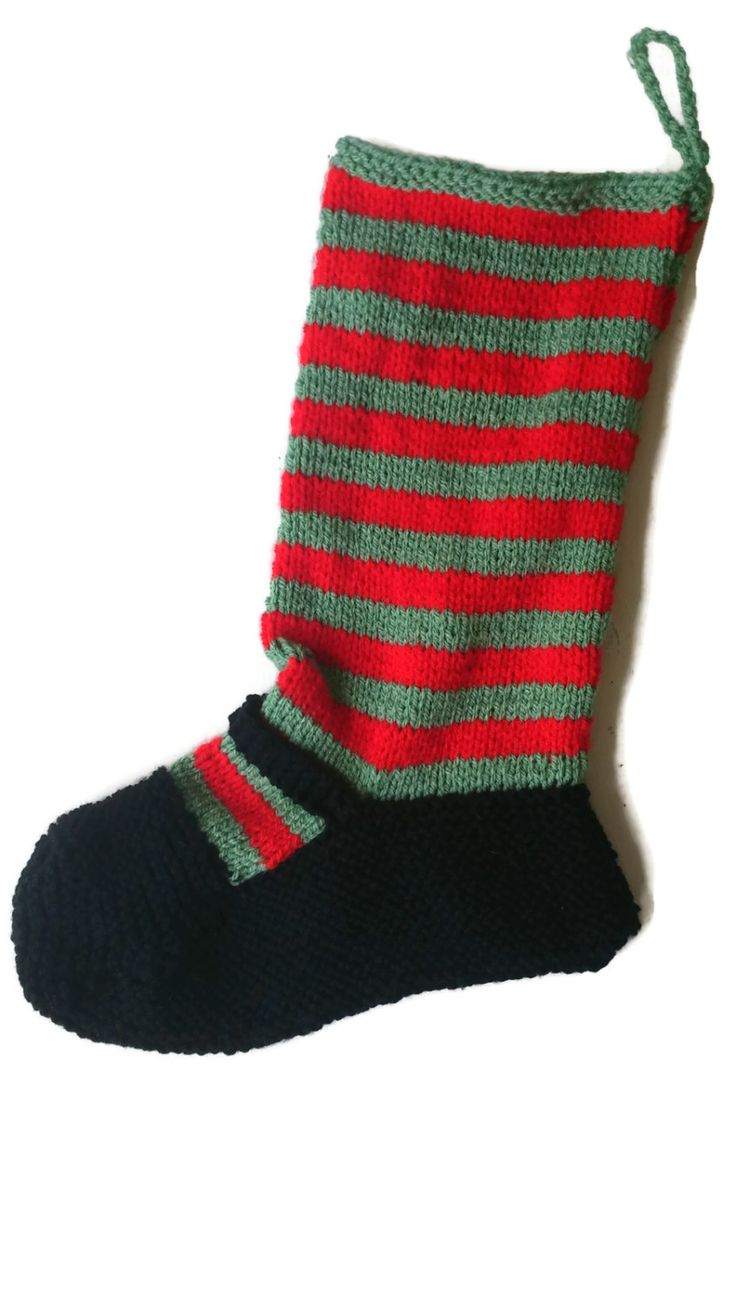Hand Knitted Christmas Stocking Elf Striped Mrs Claus Goth Emo by…