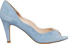 женские туфли, тонкий высокий каблук, открытый мыс, голубые с прозрачной вставкой