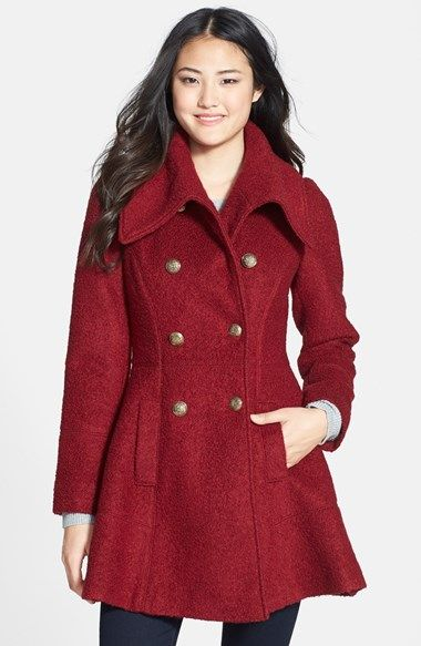women 39 s guess double breasted boucle coat coats boucle. Black Bedroom Furniture Sets. Home Design Ideas