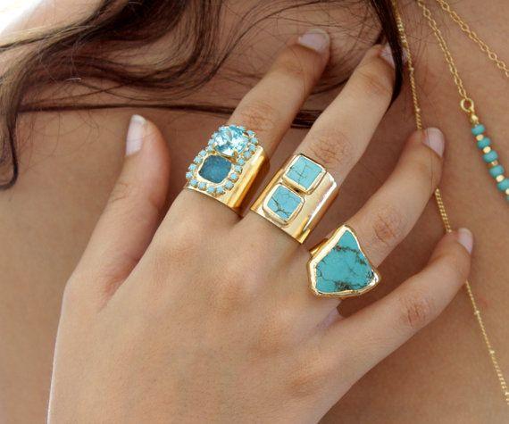Raw Turquoise Ring, Raw Gemstone Ring, Adjustable Mineral Ring Turquoise & 24K Gold ring, Turquoise Jewelry, Design By Inbal Mishan.