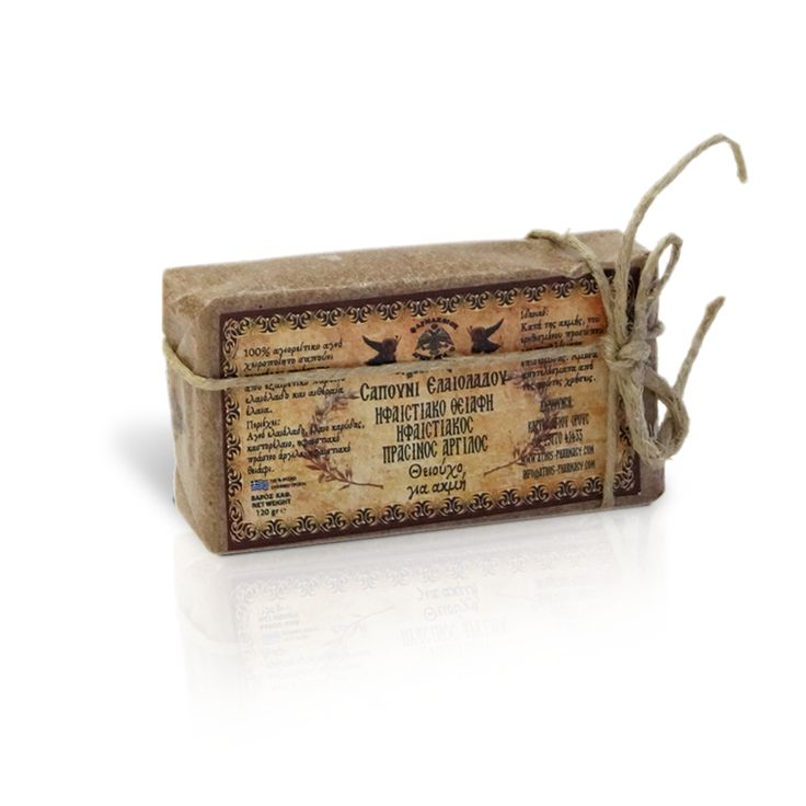 Olive Oil Soap. Sulfur for acne. It removes acne scars, reduces skin irritation and ensures particular care for problematic areas. Results appear instantly since this unique monastic product contains pure olive oil, coconut oil, castor oil, green clay and natural volcanic sulfur. Net weight: 120gr / Σαπούνι Ελαιολάδου. Θειούχο για ακμή. Είναι ιδανικό κατά της ακμής και βελτιώνει τα σημάδια του ερεθισμένου προσώπου ενώ βοηθά όλες τις επιδερμίδες με προβλήματα. Καθαρό βάρος: 120gr