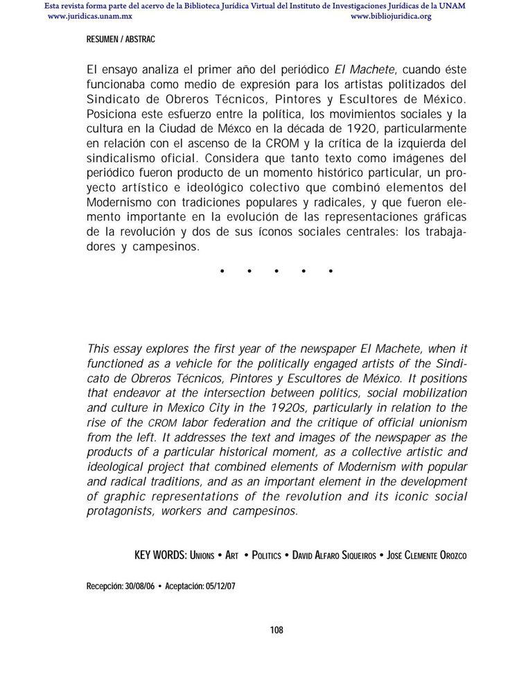 """ANÁLISIS DEL PERIÓDICO """"EL MACHETE""""  Esta revista forma parte del acervo de la Biblioteca Jurídica Virtual del Instituto de Investigaciones Jurídicas de la UNAM"""