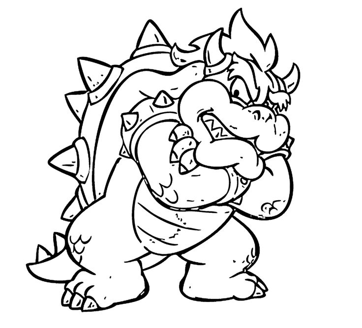 Monster from Mario cartoon coloring pages for kids