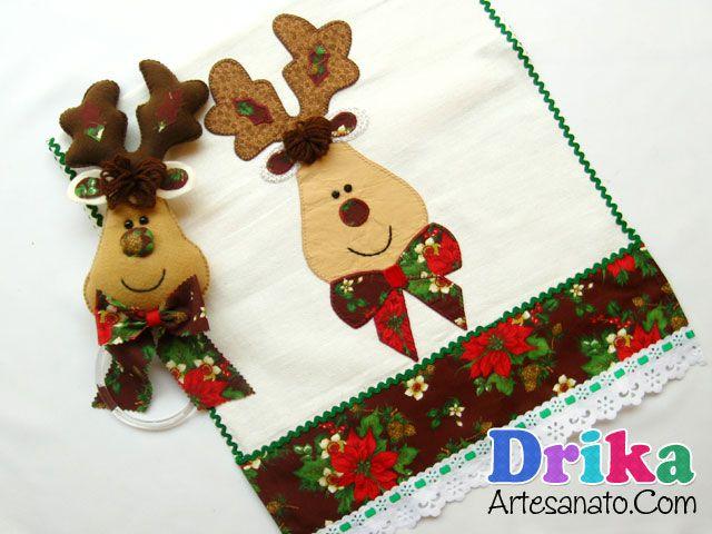 Porta pano de prato de rena de Natal • Drika Artesanato