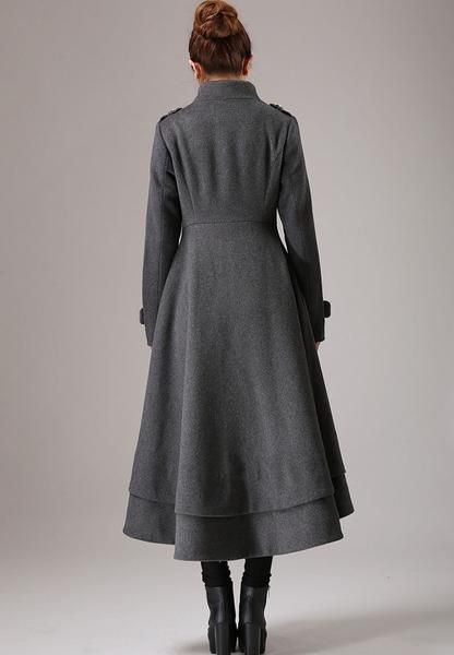 a36fee843c4 Gray wool coat long winter dress coat with layered hem (761) in 2019 ...