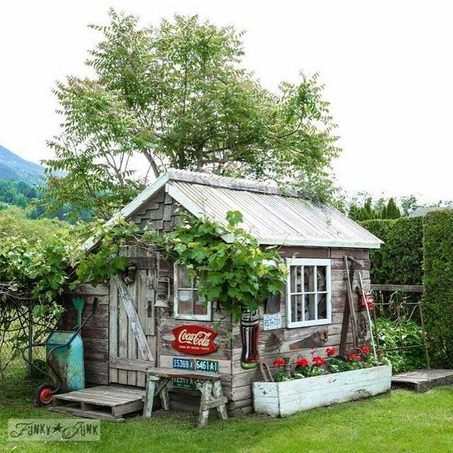 """""""It's official: @funkyjunkinteriors might have the cutest #garden shed around. """""""