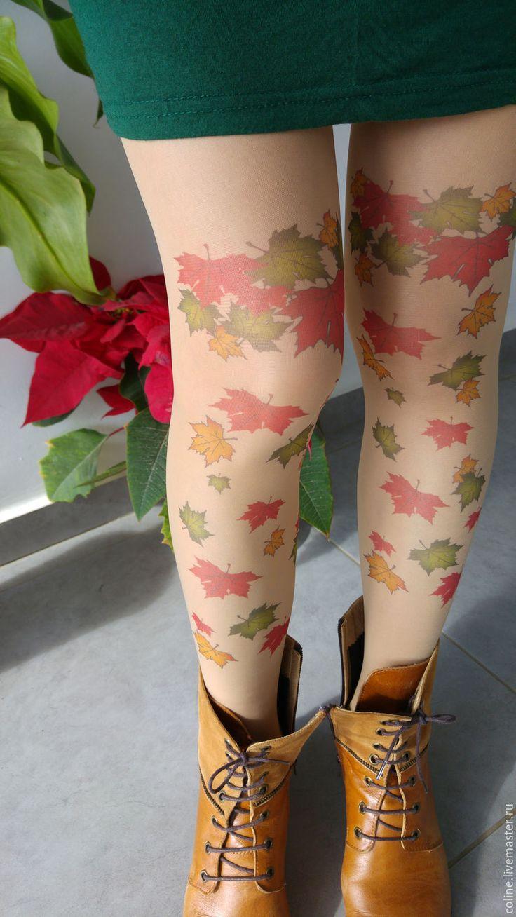 Купить Осень Колготки Тату с дизайнерским принтом - колготки, тату, чулки, принт тату, прозрачные