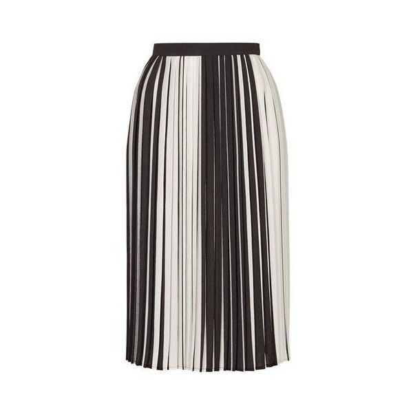 Topshop Petite Stripe Pleat Midi Skirt (2,360 INR) ❤ liked on Polyvore featuring skirts, monochrome, pleated skirt, striped skirts, stripe skirt, textured skirt and petite skirts