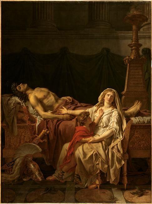 Jacques-Louis David | La douleur et les regrets d'Andromaque sur le corps d'Hector son mari | Images d'Art