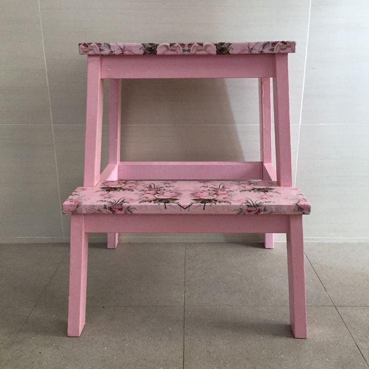 Pink ladder with decoupage floral design  fleurdelis.tictail.com