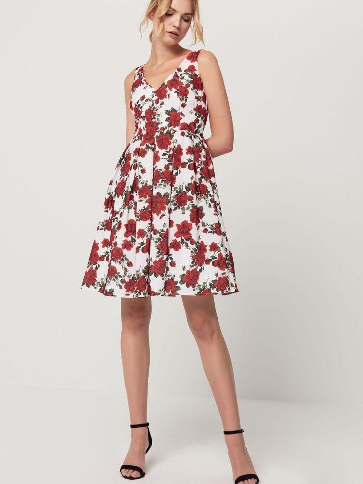 Biała sukienka w czerwone róże, MOHITO, SD507-00X