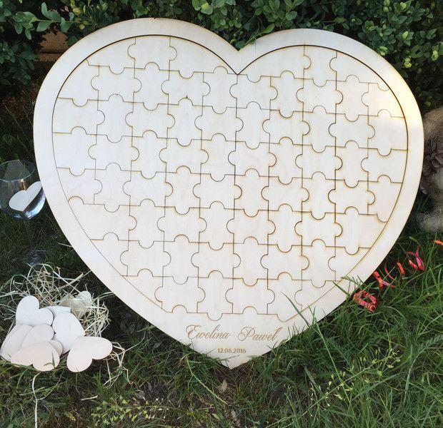 Gastenboeken - Wooden Puzzle heart wedding guest book 54 - Een uniek product van 2FR op DaWanda