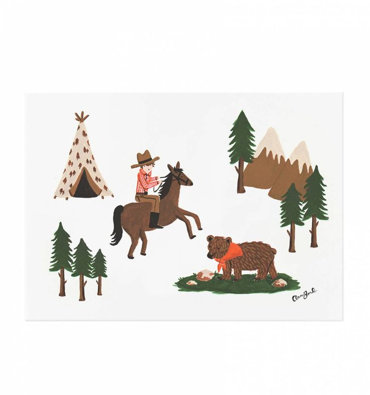 Cowboy Illustrated Art Print