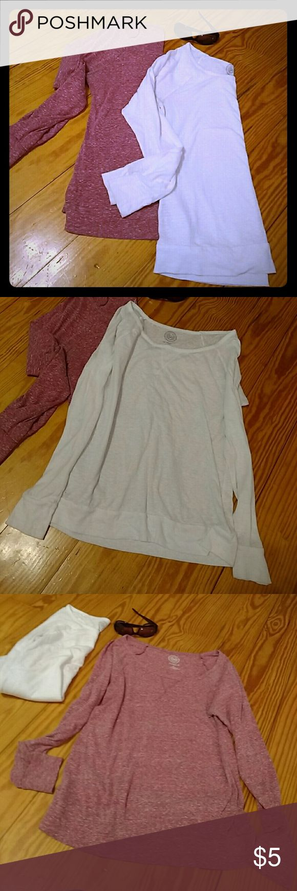 Sonoma Long sleeve Bundle Two thin sheer undershirts. Very comfy. One is a rose color and the other is white. Sized large but have been worn and washed with love. I would say they are medium. Sonoma Tops Tees - Long Sleeve