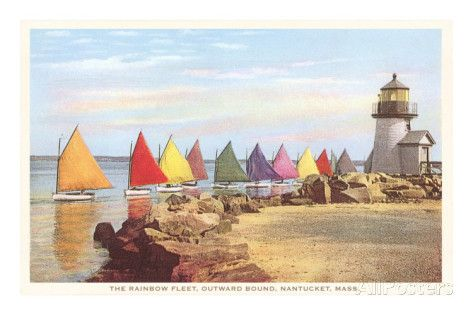 Boats with Colored Sails, Nantucket, Massachusetts Prints at AllPosters.com