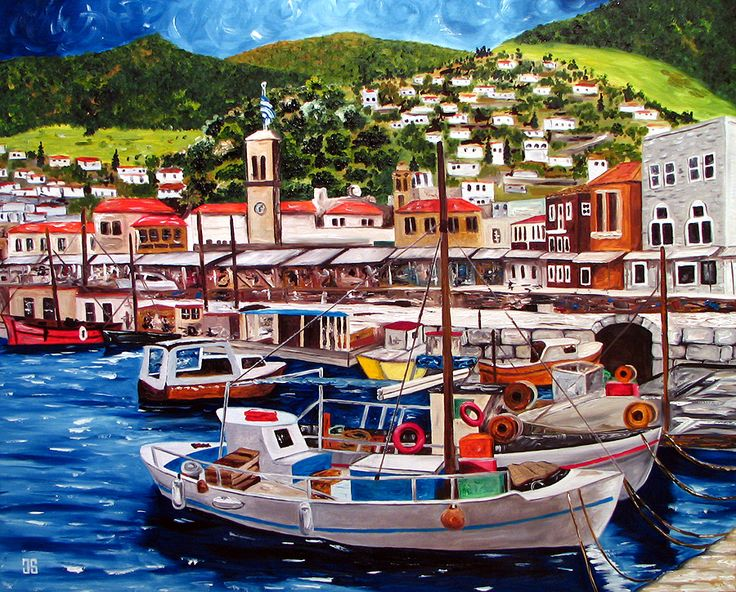 """""""Port of Hydra, Greece"""", painting by Jeffrey Dale Starr"""