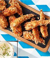 Chicken goujons recipe with a rice pop twist