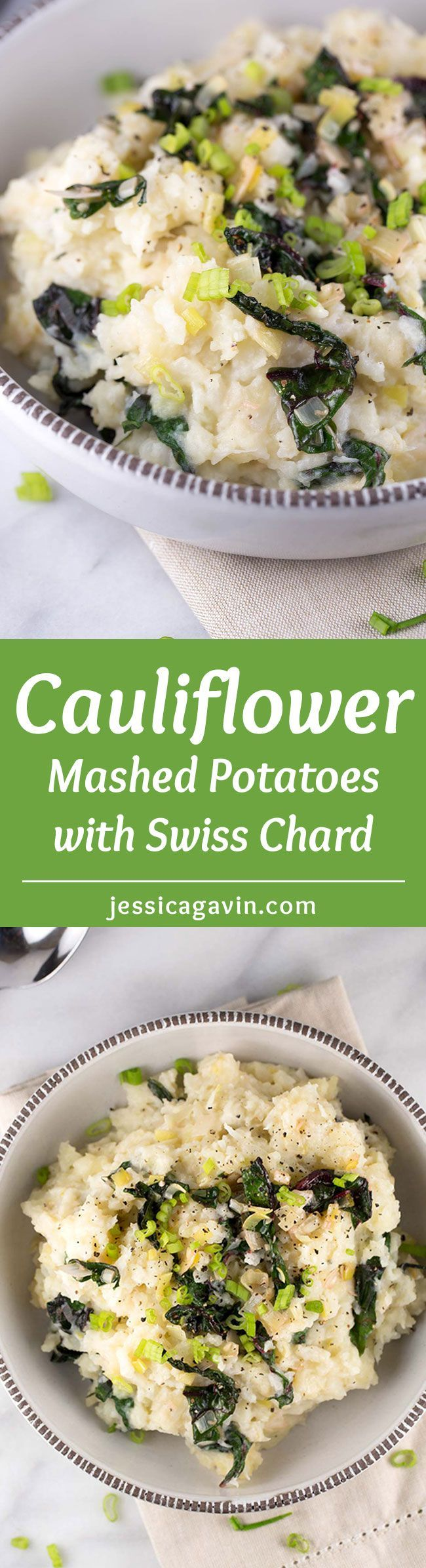 Cauliflower Mashed Potatoes with Swiss Chard - This recipe is packed with healthy vegetables while creamy potatoes are infused with garlic, leeks and fresh chard | jessicagavin.com