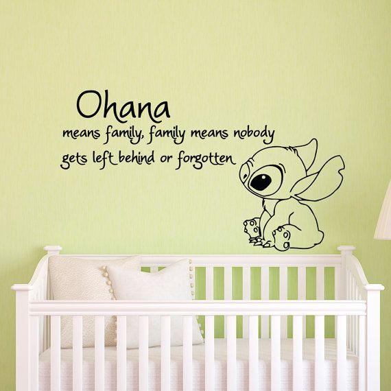Ohana significa famiglia significa nessuno avere lasciato alle spalle o Stitch e Lilo dimenticata parete decalcomania vinile adesivo parete decalcomanie vivaio bambini camera da letto Q049