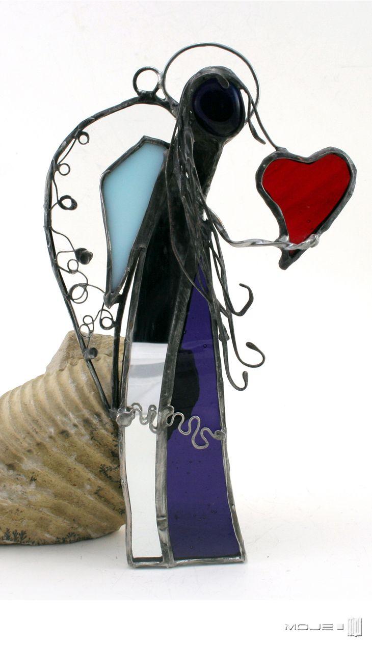 Lurchi. Anioł z serduchem / Angel with heart. Witraż Tiffany / Tiffany Stained Glass. Glass Angel
