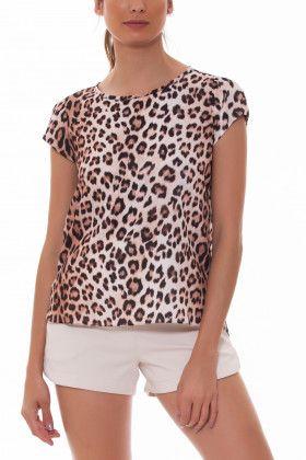 b6b3d35a3 Blusa confeccionada em crepe blusa animal print, onça | Variedad ...