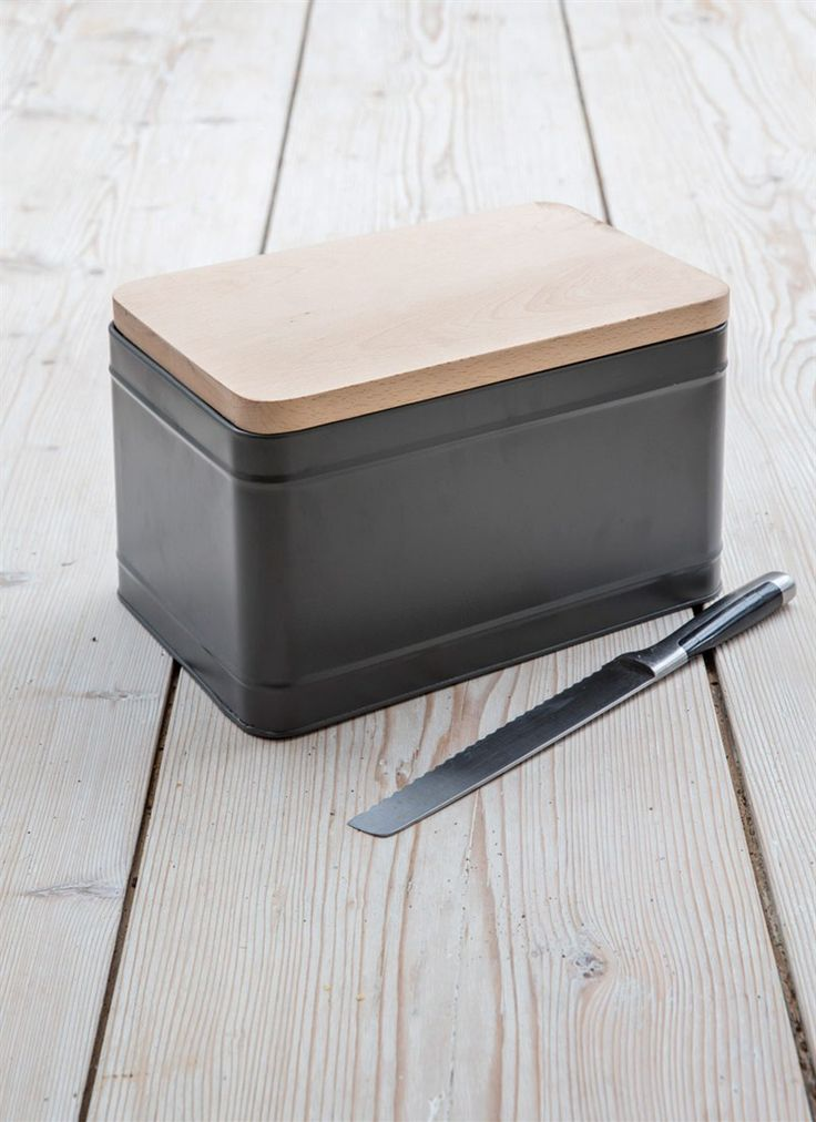 A smart Charcoal coloured Bread Bin with a wooden lid that doubles as a cutting board