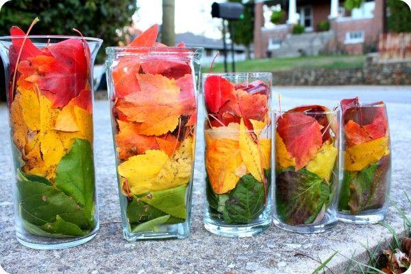 Leaf centerpieces for Autumn Decorations
