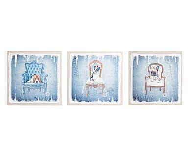 Set di 3 quadri in legno e tela Dog blu e bianco, 40x40x2 cm