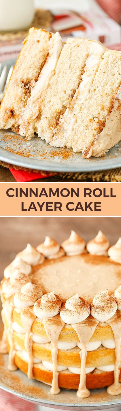 This Cinnamon Roll Layer Cake is to die for! SO full of cinnamon in every bite – and it's a recipe I'm sharing with you from my cookbook! Yay!
