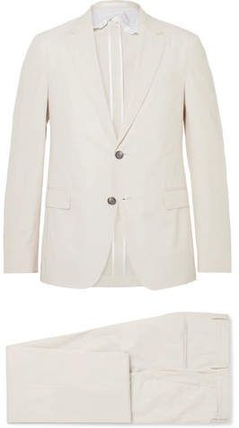 4319a124 HUGO BOSS Cream Nylen Perry Slim-Fit Cotton Suit | Products | Cotton ...