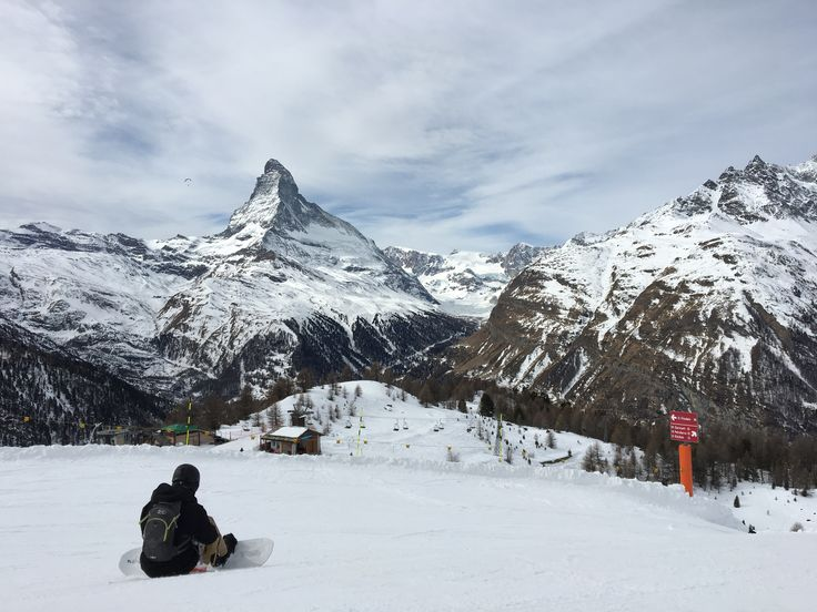 Zermatt - Enjoying the wonderful view on the Matterhorn while having a short break from snowboarding