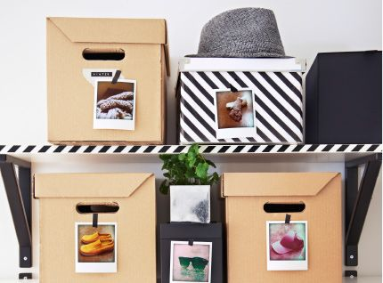 EKBY shelves and PAPPIS boxes labeled with photos to show what's inside