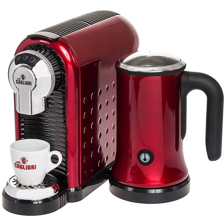Caffe Cagliari Carina Italian Coffee Espresso Machine w/ Milk Frother (Red) -- To view further, visit now : Coffee Maker