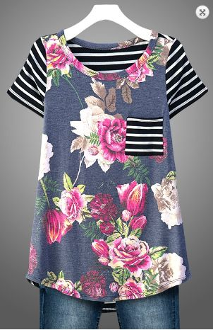 Floral and Stripe Short Sleeve Top in Navy