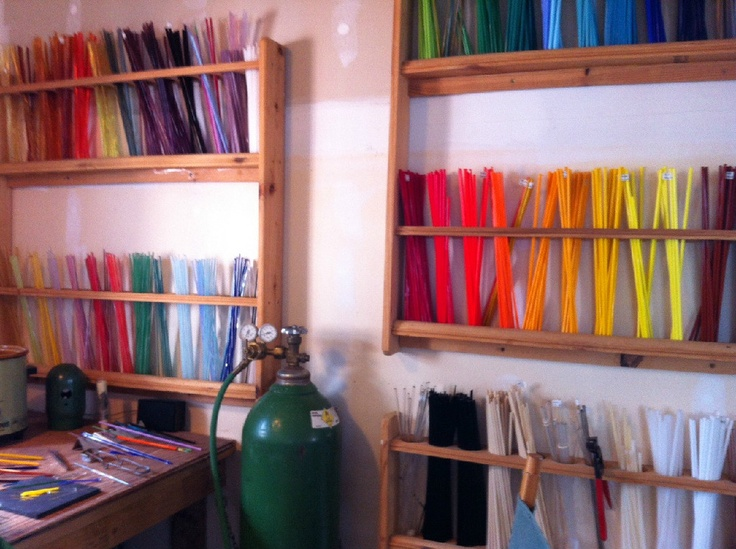 Glass Rod Storage for making Lampwork Beads. Bead Studio--Moon City Creative District Springfield, Missouri