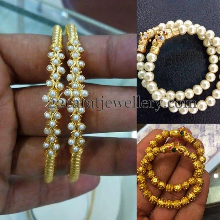 Jewellery Designs: Pearls Baby Bangles Gallery