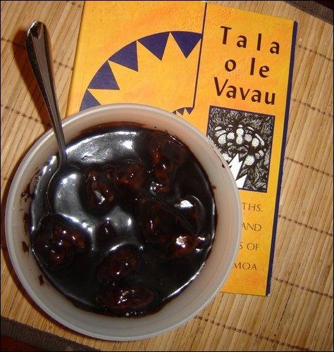 Samoan kepai koko - dumplings in chocolate sauce.