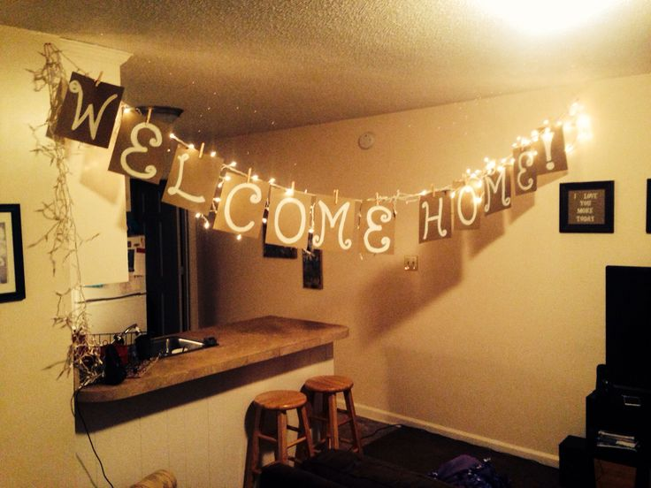 My welcome home sign for ezra when he comes home from his for Welcome home decorations ideas