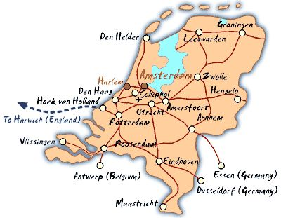 netherlands map showing cities and rail lines