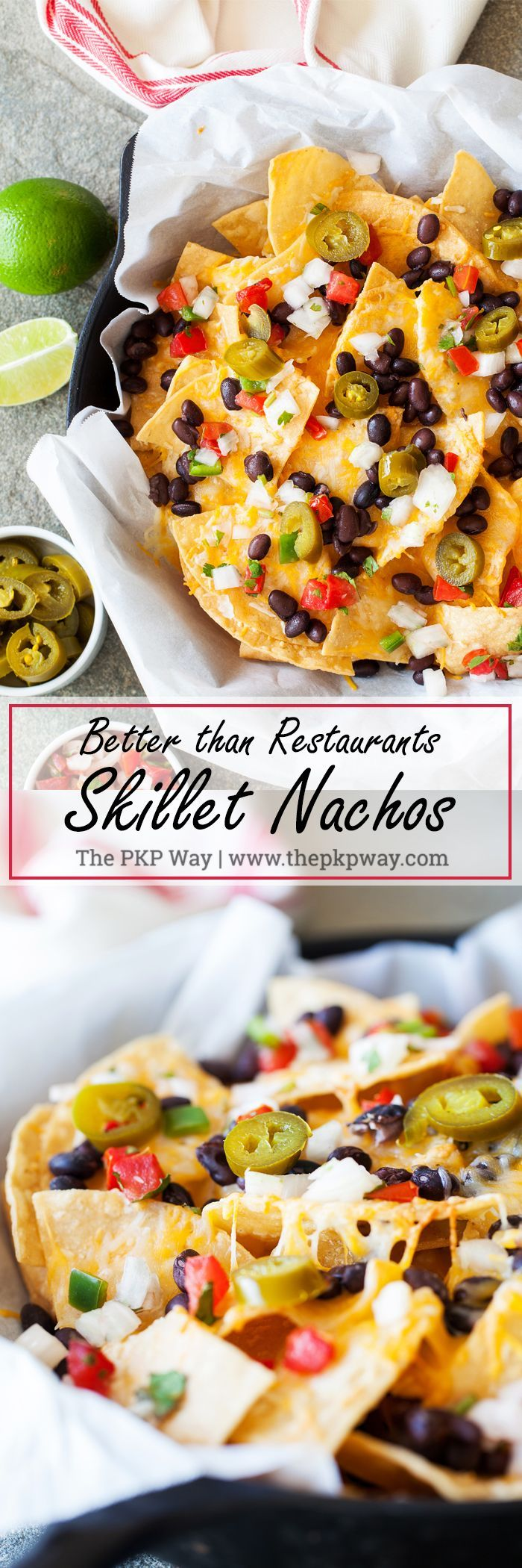 These Better than Restaurants Skillet Nachos gives you cheese in every bite and is topped with plenty of toppings.