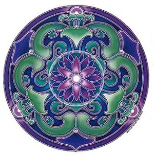 Nouveau Lotus Sticker A well-balanced, stunning mandala with rich colors of violet, greens and purple. Original artwork by Bryon Allen.