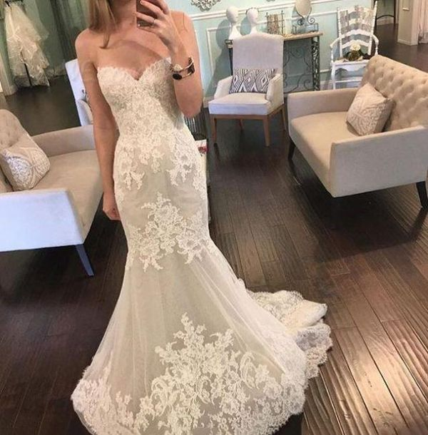 Cheap Wedding Dresses Trumpet/Mermaid Sweetheart Tulle Ivory