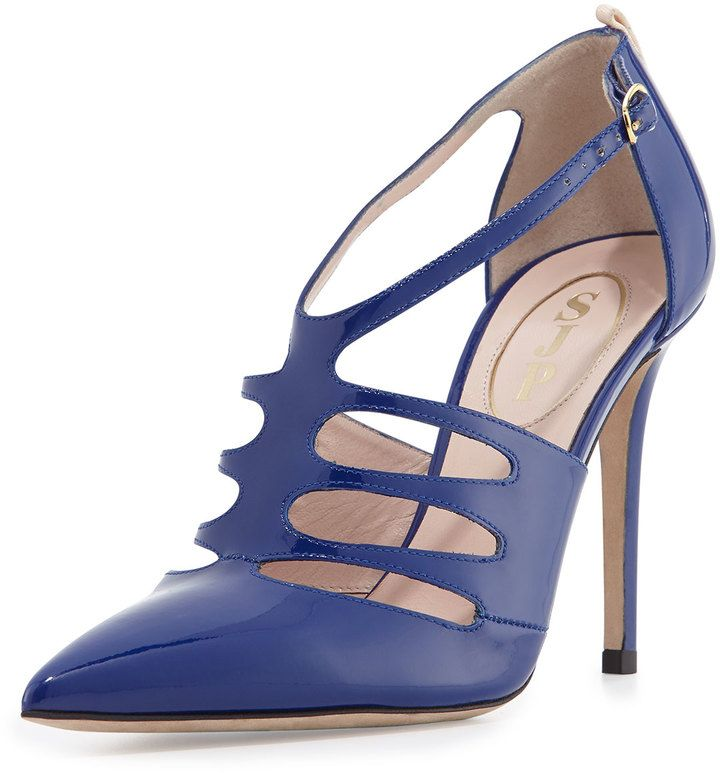 Sarah Jessica Parker SJP by Denise Patent T-Strap Pump, Blue on shopstyle.com