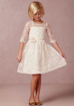 2015 marfil Vintage encaje de flores niña vestidos con mangas largas hasta la rodilla longitud niña Vestido de flores para el partido y la boda Vestido Comunion