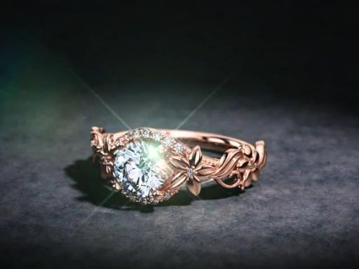 1.50ct Round Forever One Moissanite Floral Engagement Ring. This ring can be your in 14K White, Yellow or Rose Gold. Ring Featuring 0.15tcw VS Quality Diamonds Sale Price: $1795