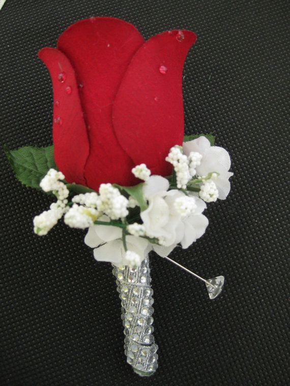 Wedding Prom Rose Rhinestone Silk Flower Boutonniere in Red, Cream, or Purple color