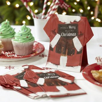 Christmas Cheer Santa 3 Ply Standing Paper Napkins Serviettes For Lunch Table | eBay