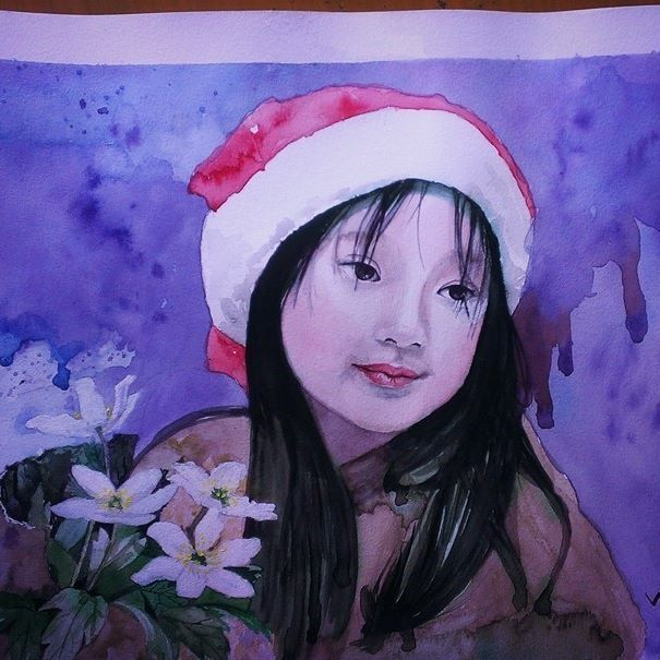 #watercolor #oilpainting #paint #painting #artist #art #arte #artwork #artistic #masterpiece #artoftheday #gallery #painter #portrait #vuaquatic #beautiful #baby #cute #flower